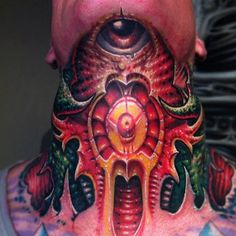 This biomechanical piece was done at Fatink Tattoo :Badass Throat Tattoos from tattoodo.com