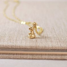 Bunny Rabbit   Tiny Gold Necklace Charm Jewelry by GracefulHunter, $13.00