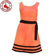 Coral elegant office dress