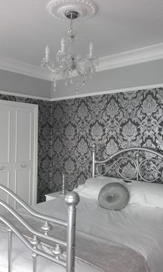 Luxurious grey and white vintage bedroom. Picture rail and cornice. Ceiling rose and chandelier. Headboard and footboard up cycled. Damask Bedroom, Damask Decor, Silver Bedroom, Accent Wall Bedroom, Bedroom Vintage, Silver Wallpaper, Damask Wallpaper, Bedroom Wallpaper, Wallpaper Designs