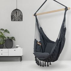 Hammock Chair for Indoor and Outdoor: Grey Indoor Hammock Chair, Outdoor Swing Chair, Hammock In Bedroom, Swing Chairs, Hanging Chairs, Outdoor Lounge, Porch Swing, Hanging Fabric, Hanging Rope