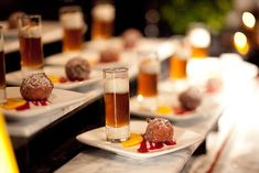 Tocqueville served beer paired with doughnut holes at one of the dessert stations. Photo: Allan Zepeda Photography and Judith Rae