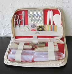 Noymer White Ground Leather Vintage Travel Kit Toiletry Case Filled with Accessories West Germany VintageHag.com
