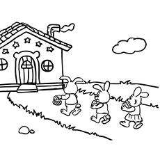 Bunnies Delivering Easter Eggs Coloring Page