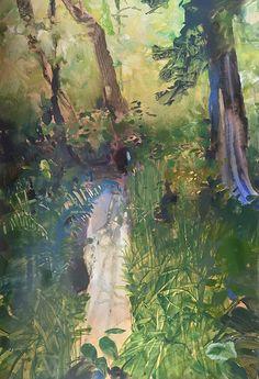 Fort Stevens Stream-rainforest landscape, painting by artist Randall David Tipton. Water media on Terraskin Mixed Media Artists, Mixed Media Painting, Original Artwork, Original Paintings, Daily Painters, Tree Forest, Art Boards, Landscape Paintings, David