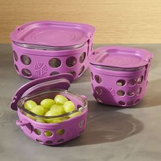 Lifefactory Huckleberry Purple Storage Containers Set of Three - Crate and Barrel