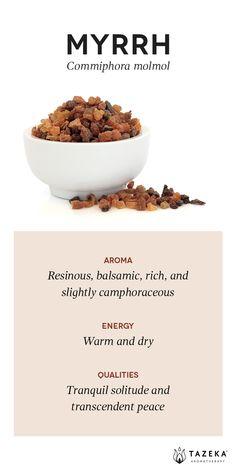 Myrrh Profile | (Source: Aromatherapy For the Healing Spirit - Gabrial Mojay) #Tazeka