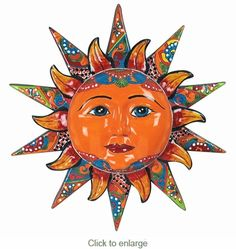 Splendid Orange Mexican Sun Pottery Arts Design : Display These Wonderfully And Traditional-Inspired Crafted Colorful Mexican Pottery Sun Clay And Ceramic Art Works As Your Wall Decorative Ornaments Gallery Talavera Pottery, Pottery Art, Mexican Wall Art, Mexican Tiles, Sun Painting, Mexican Ceramics, Sun Art, Mexican Designs, Ceramic Art