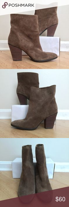 Enzo Angiolini suede ankle boots Purchased at Nordstrom and worn TWICE, these heels are truly beautiful. Perforated suede leather with an an almond toe and feminine heel, I loved these with leggings and an oversized sweater! Truly perfect condition but for minor wear on soles. Oh and the soles are rubber so the grip is great! Very helpful in the winter! Price firm unless bundled. Enzo Angiolini Shoes Ankle Boots & Booties