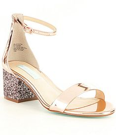 Blue by Betsey Johnson Jayce Metallic Ankle Strap Glitter Block Heel #Dillards