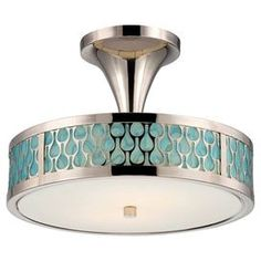 """Featuring an openwork metal overlay and turquoise-hued accents, this timeless semi-flush mount casts a warm glow in your foyer or dining room.      Product: Semi-flush mountConstruction Material: Metal and glassColor: Polished nickel, turquoise and whiteFeatures: 12"""" Wire length120 VoltsUL and cUL listed for damp locationsEco-friendly Accommodates: (2) LED bulbs - includedDimensions: 10.88"""" H x 15"""" Diameter"""
