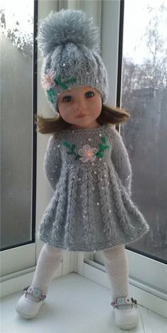 Gotz girls clothes / Dolls clothes / Red … - Do it Yourself Clothes Knitting Dolls Clothes, Crochet Doll Clothes, Knitted Dolls, Girl Doll Clothes, Doll Clothes Patterns, Barbie Clothes, Girl Dolls, Baby Dolls, Baby Knitting