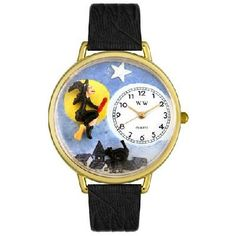 WHIMSICAL WATCHES - Halloween Flying Witch Watch in Gold - FREE SHIPPING $45.00