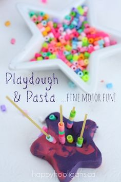 Fine motor development with play dough and pasta. A fun playdough activity to help toddlers and preschoolers strengthen their fine motor skills. Playdough Activities, Motor Activities, Infant Activities, Activities For Kids, Crafts For Kids, Indoor Activities, Activity Ideas, Kindergarten Activities, Happy Hooligans