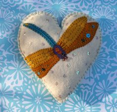 Items similar to Sachet Heart - Dancing Dragonfly Felt Sachet Filled With Lavender (SF181) on Etsy $
