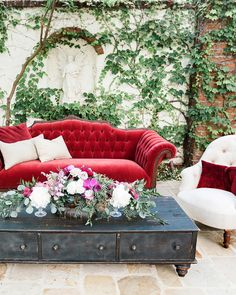 13 Dreamy Garden Wedding Ideas | Martha Stewart Weddings - Contrast the greenery with some brights pops of color through furniture, like these Found Vintage Rentals lounge pieces.