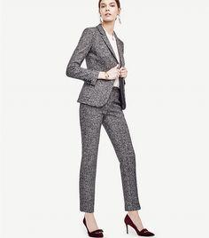 Ann Taylor Mixed Tweed One Button Blazer
