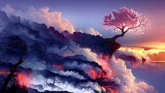 Cherry Tree Volcano Wallpaper in 1920x1080