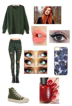 """Poison Ivy Hipster"" by khodionna ❤ liked on Polyvore featuring Converse, Charlotte Tilbury, Warehouse and OPI"