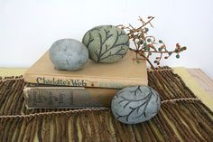 Group of three decorative ceramic spheres. Woodland, trees, branches, hand made, painted, texture, carved, blue, gray, spring, Easter 40 on Etsy, $72.00