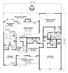 First Floor Plan of Craftsman   House Plan 61333