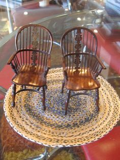 CARVED PAIR OF WINDSOR CHAIRS SIGNED D BOOTH DOLL HOUSE MINIATURE 1:12 SCALE