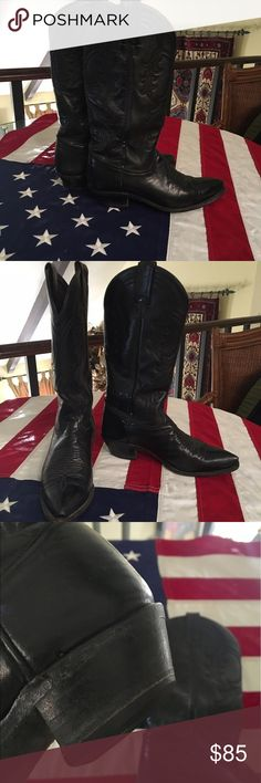 Cowboy boots Tony Lama black cowboy boots gently used. So much adventure awaiting in these boots. Tony Lama Shoes