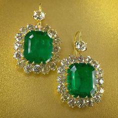 @kremkow.  Happy May! Celebrate with half-million dollar emerald earrings from @bonhamsjewels: 10 carats for each ear.