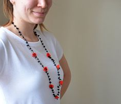 Crochet Necklace Oya Red Flowers Black Beaded Natural by ReddApple, $27.99
