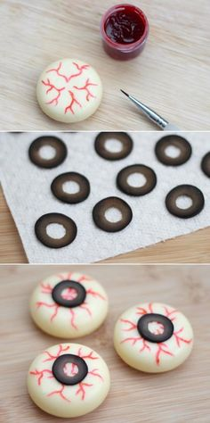 Easy, healthy Halloween eyeball recipe using babybel cheese and black olives.