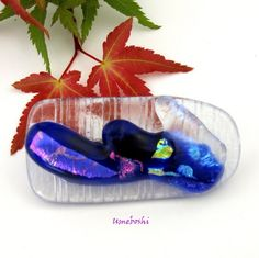 Frozen Ocean Wave Dichroic Cobalt Blue Glass Handmade Brooch | Umeboshi - Jewelry on ArtFire