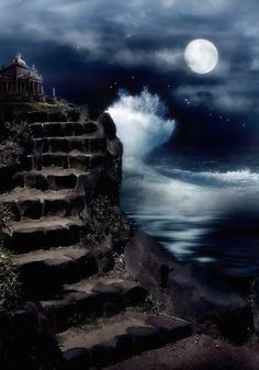 Best stairway to Heaven images free. These are the stunning pictures which look just like a stairway to Heaven leading up to the sky. Beautiful Moon, Beautiful World, Shoot The Moon, Sun Moon Stars, Moon Sea, Moon Pictures, Moon Magic, Stairway To Heaven, Nocturne