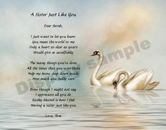 beautiful sister poems | Details about Personalized Sister Poem Sister Gift Swan Print Sister In Heaven, I Miss My Sister, Dear Sister, Sister Poems, Sister Gifts, Baby Poems, Poem About Death, Loss Of Loved One, Personalised Gifts Unique