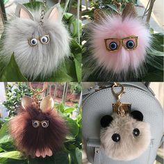 Cute Fluffy Faux Rabbit Fur Pompom Ball Car Handbag Pendant Key Ring Key Chain | Clothes, Shoes & Accessories, Women's Accessories, Keyrings | eBay!