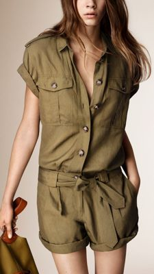 Silk Linen Utility Playsuit