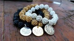 Monogrammed/Initial Crystal Pave Bead Bracelets...Regular and Child sizes