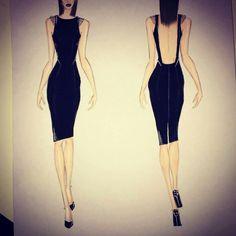 Fashion sketch little black dress