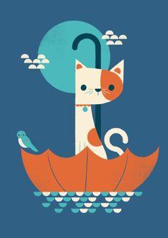 Umbrella Cat wall art by Jay Fleck Cute Cat Drawing, Cat Art Print, Cat Character, Cat Wall, Poster S, Illustrations, Cute Illustration, Cute Wallpapers, Kitsch