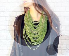 Green Knitted Necklace. Multi Strand Necklace. by FoamBubbles