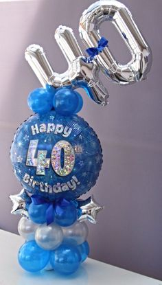 Birthday Balloon display with baby bubbles mini number foils Can be made in a selection of ages and colours of your choice Approx ft tall 40th Birthday Balloons, Birthday Balloon Decorations, Birthday Centerpieces, 21st Birthday, Wedding Centerpieces, Balloon Arrangements, Balloon Centerpieces, Floral Arrangements, Masquerade Centerpieces