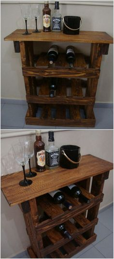This bar table has been made with old wooden pallets and we have polished the surface very well. No one would ever guess that it has been made with old wooden pallets. You can save and store your precious drinks bottles in this bar table. Wood Pallet Bar, Wooden Pallet Crafts, Pallet Wine, Wood Pallet Furniture, Diy Pallet Projects, Wooden Pallets, Wood Projects, Wine Rack Table, Wine Racks