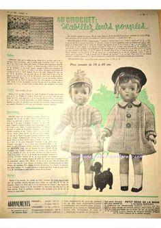 Revue Vintage « Le Petit Echo De La Mode » décembre 1952 avec patrons gratuits tricot, crochet, couture…  Habiller les poupées au crochet