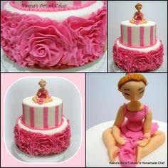 Fondant Rose Ruffle Cake - Veena's Art of Cakes