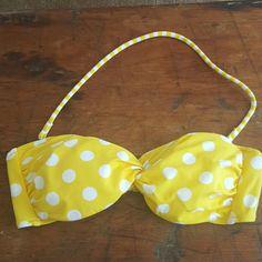 Victoria's Secret yellow polka dot bandeau Brand new, never worn. Removal strap and padding Victoria's Secret Swim Bikinis