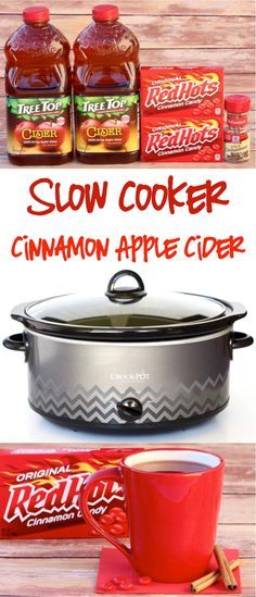 Easy Crockpot Cinnamon Apple Cider Recipe!  The perfect addition to your holiday parties!