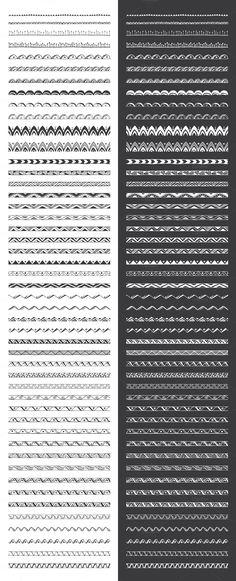 Hand Drawn Pattern Brushes Vol. 01 for Illustrator CS #tribal #geometric #floral #mandalas #patterns