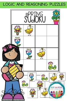 Are you looking for a fun activity for spring that keeps students engaged, learning and on-task? These beginner (PICTURE) Spring Sudoku puzzles are perfect to activate a student's logic and reasoning skills! Math Center Rotations, Math Centers, Vocabulary Games, Math Games, Math Talk, Framed Words, Sudoku Puzzles, Math Graphic Organizers, Math Word Problems
