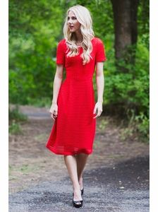 Scarlett Modest Dress in Red visit JenClothing for modest clothes. #red_dress #jenclothing