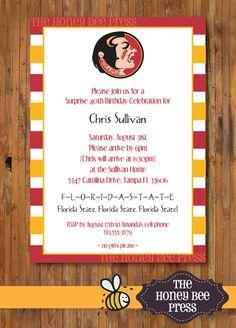 Florida State Birthday Party Invitation  FSU by TheHoneyBeePress, $15.00