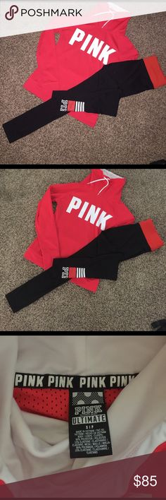 (2) VS PINK ultimate cowl neck set NWOT Victoria's Secret pink ultimate set. Cowl neck ultimate hoodie and reversible leggings both in size small. Please feel free to ask any questions and check out my listings ! Hoodie is reddish pink color and leggings are neon red Sweaters Cowl & Turtlenecks